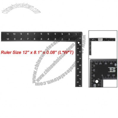 Black Metal 300 x 200mm White Scale Marks Metric Angle Try Square Ruler