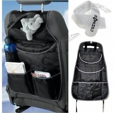 Black Polyester Cloth Multi-Purpose Space Master Organizer for Car Back Seat with Cosmos Cable Tie