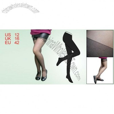 Black Reinforced Control Top Sheer Pantyhose Tights for Ladies L