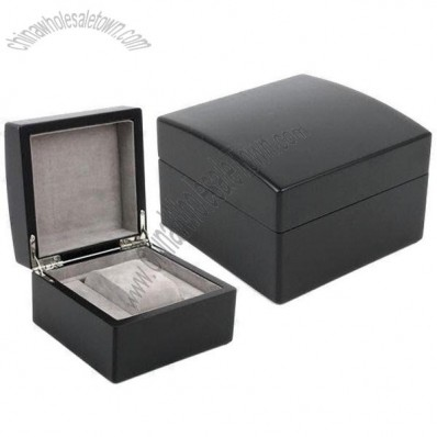Black Wooden Watch Gift Box to Hold Single Timepiece, Velvet Interior