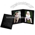 Black cowhide leather double photo frame