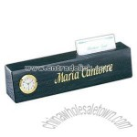 Black marble nameplate with clock