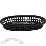 Black oblong plastic fast food basket 10 3/4