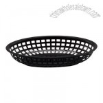 Black oval plastic fast food basket 8 1/2