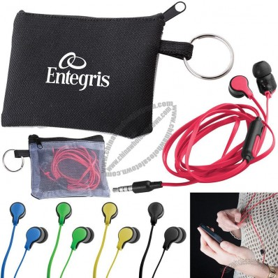 Black polyester mini-pouch, with split ring attached, includes flat wire earbuds