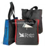 Blank Poly Side Zippered Tote Bag