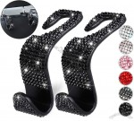 Bling Car Hooks - Auto Seat Hangers Organizer with Rhinestone for Purse Handbag Cloth Grocery