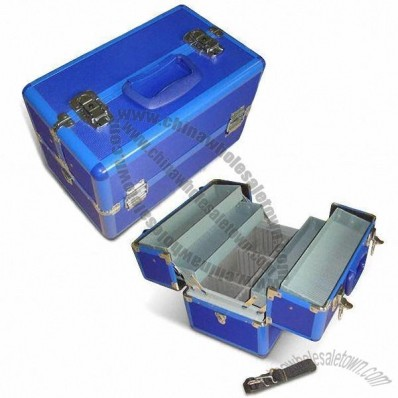 Blue Aluminum Case with Four Trays Inside