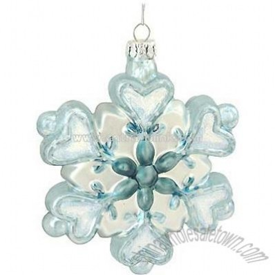 Blue And Silver Snowflake Glass Ornament
