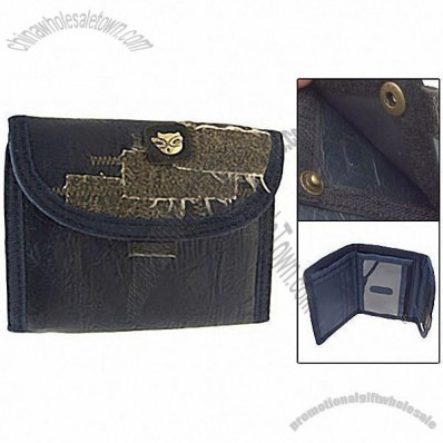 Blue Business Credit Card Money Photo Holder Leather Wallet Purse