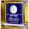 Blue/Clear Crystal Clock Award