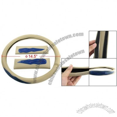 Blue Flame Brown Steering Wheel Cover Seat Belt Pad 3 Pcs Set