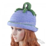Blue Hat Hand knit Crochet Beanie Girl