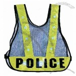 Blue Mesh Police Vest with LED Light