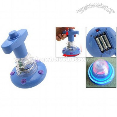 Blue Music Push Peg-top Toy with Color Flash Light for Kids