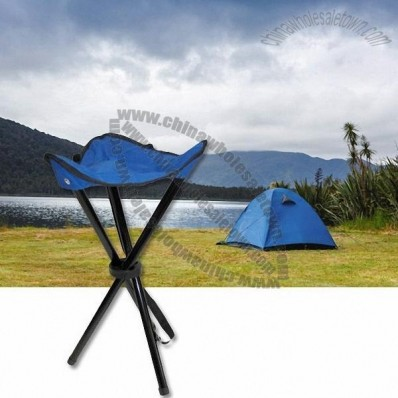 Blue Outdoor Camping Stool with Convenient Carrying Strap