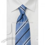 Blue Silk Striped Tie by Cavallieri
