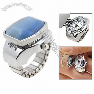 Blue Simulated Crystal Finger Ring Watch