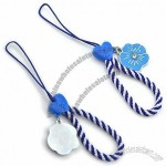 Blue Stainless Steel Mobile Phone Straps With Enamel