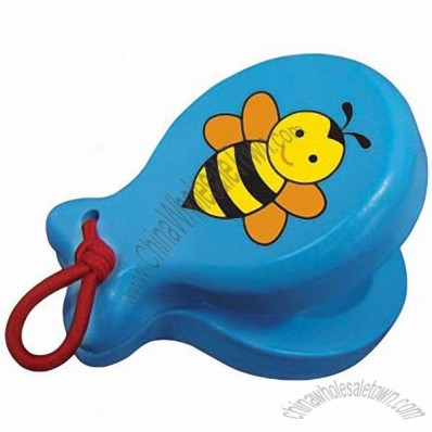 Blue Wooden Castanet With Bee - Musical Educational Toy For Toddlers And Preschoolers