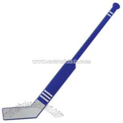 Blue plastic hockey stick shape cocktail stirrer