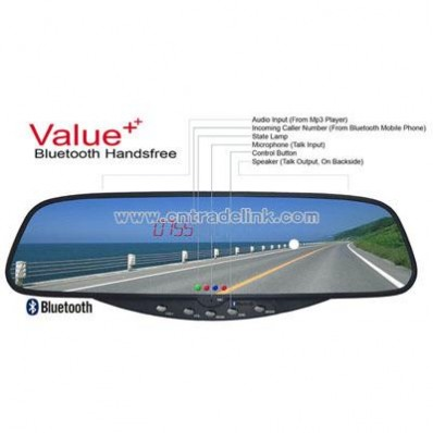Bluetooth Stereo Handsfree Rearview Mirror with Wireless Parking Sensor