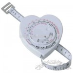Body Mass Index calculating 1.5m tape measure in a heart shape case