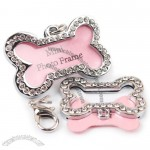 Bones-Shaped Rhinestone Dog Tag