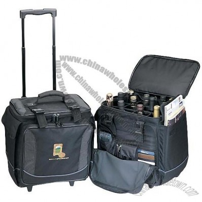 Bottle Limo Rolling Cooler Bag w/ 12 Separate Section