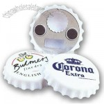 Bottle cap shape bottle opener with magnetic back