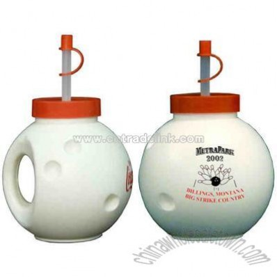 Bowling ball shape cup with straw