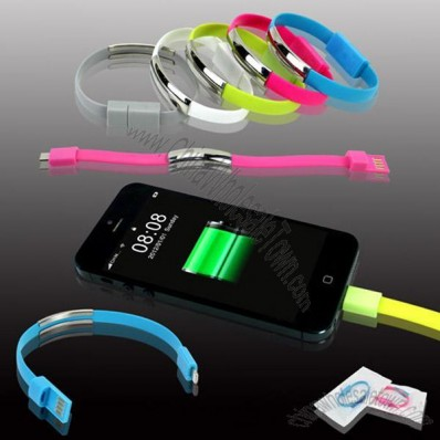 Bracelet Charging & Sync Cable with iPhone lightening or Micro USB Pins