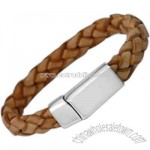Braided tan leather ID bracelet