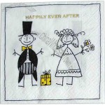 Bride And Groom - 3-Ply Beverage Napkin With Pattern
