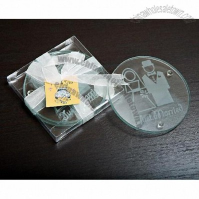 Bride and Groom Glass Coaster