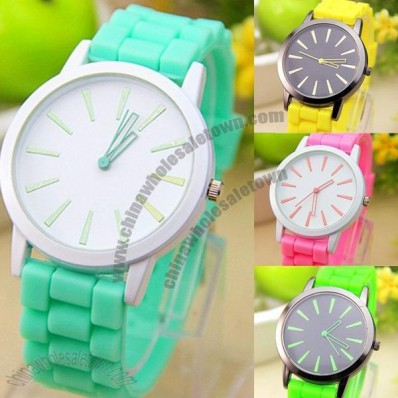 Bright Silicone Watch with Black or White Face