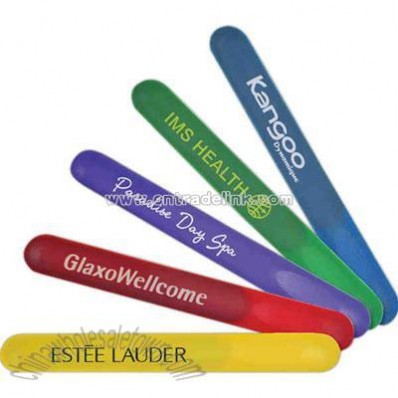 Bright colored nail file with clear protective sleeve