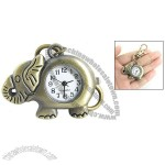 Bronze Tone Elephant Shape Pendant Lobster Clasp Keyring Watch