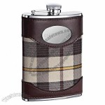 Brown Leather Plaid Hip Flask