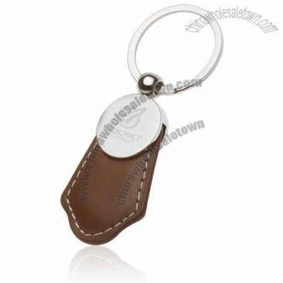 Brown Leather and Metal Keychains