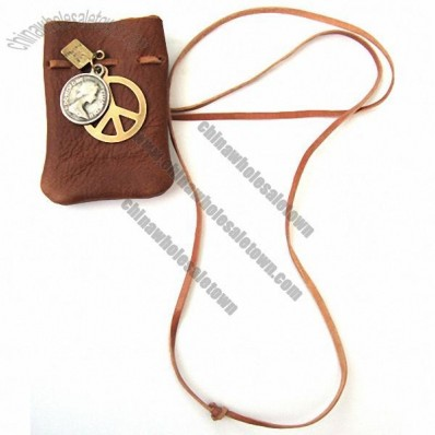 Brown Real Leather Pouch Peach & Book Charms Necklace