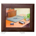 Brown crocodile embossed leather photo frame