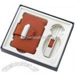 Brown leather case - Gift set