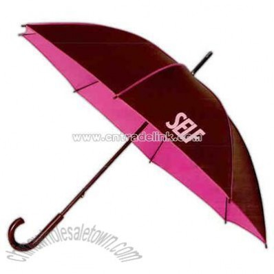 Brown wood shaft and curved wood handle umbrella