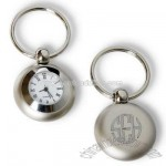 Brushed Silver Clock Key Chain