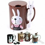Bunny Pattern Water Mug with Spoon