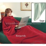 Burgundy Fleece Throw with Sleeves