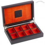 Burgundy Leather Cufflink Box With Space For 8 Pairs Of Cufflinks