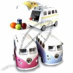 Bus Shaped UL-certified Mini Fridge, Portable Car Cooler and Warmer with 8L