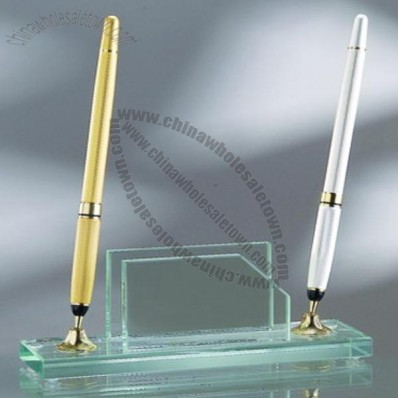 Business Card Holder W/2 Pens Set